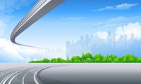 Freeway and City skyline