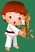 Boy breaking a board using karate