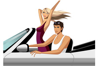 Young couple riding in car