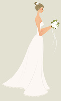 side view of woman in bride dress