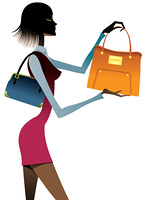 side view of woman holding bags