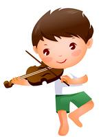 Close-up of boy holding violin
