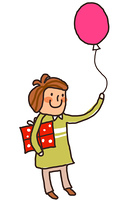 Side view of boy holding balloon