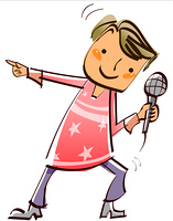 Close-up of boy holding microphone