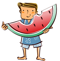 Close-up of boy holding watermelon