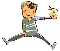 Close-up of boy holding bag of dollar