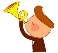 Side view of boy holding trumpet