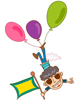 Close-up of boy flying with balloon