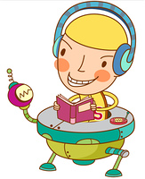 Close-up of boy wearing headphones