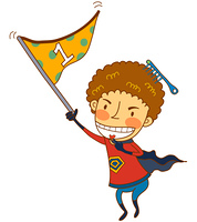 Close-up of boy holding flag