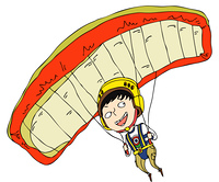 Close-up of boy playing with parachute