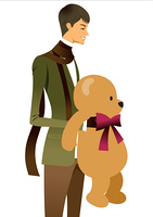 Side view of man holding teddy bear