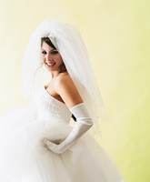 Portrait of young bride smiling