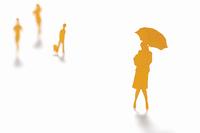 傘をさす女性のクラフト