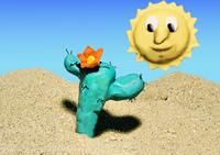 Cactus in the desert with sun