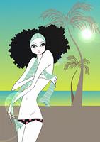 Young woman in topless bikini on tropical beach