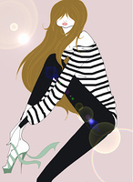 Young woman tying high heel shoe