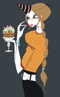 Young woman in party hat eating cake