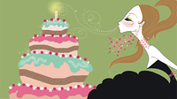 Young woman blowing out birthday candle
