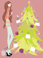 Young woman at Christmas tree with presents