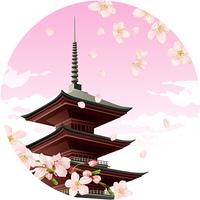 桜の花と仏塔
