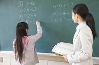 黒板の問題を解く小学生女子と横に立つ女性教師