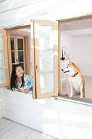 柴犬と見つめ合う女の子