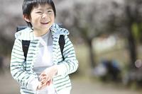 桜の下で笑う小学生男子