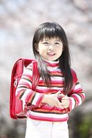 桜の下に立つ小学生女子のポートレート