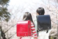 桜の下に立つ小学生男女の後姿