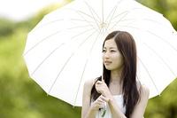 日傘をもつ女性