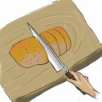 カツ丼を作る-1,,豚カツを切る
