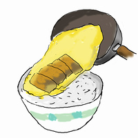 カツ丼を作る-3,,鍋から豚カツをよそう