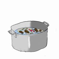 クッパを作る,,材料を煮る