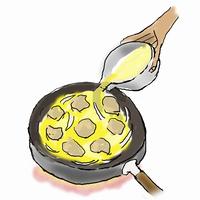 親子丼を作る-2,,煮えたら卵を加える