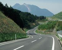 由布岳と道路