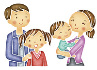 笑顔の4人家族