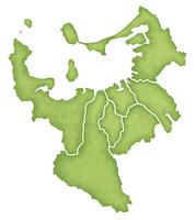 福岡市の境界線入り地図