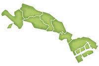 川崎市の境界線入り地図