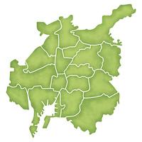 名古屋市の境界線入り地図