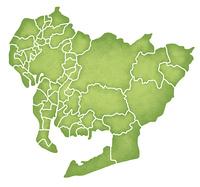 愛知県の境界線入り地図