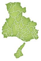 兵庫県の境界線入り地図