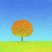 草原と1本の木