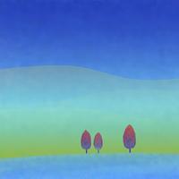 草原と3本の木