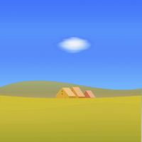 秋の丘と家