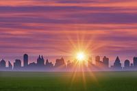 街並と太陽