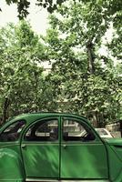 木と緑の車