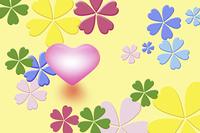 カラフルな花とハート