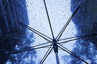 ビニール傘から見える雨のビル街