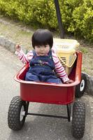 カートに乗せられる幼児